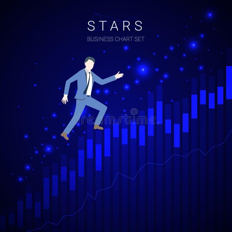 Moderne bedrijfs groeiende grafiekvector met zakenman het lanceren en sterren op donkerblauwe achtergrond stock illustratie