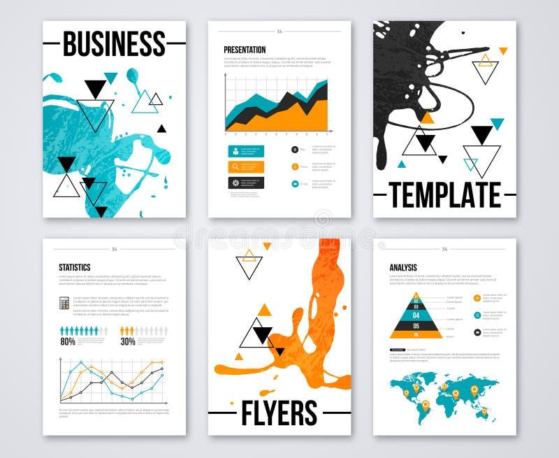 Moderne bedrijfsbrochures en infographic verf stock illustratie