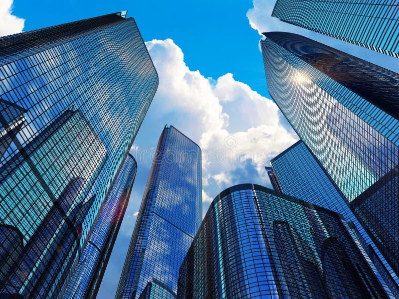 Moderne bedrijfsgebouwen stock illustratie