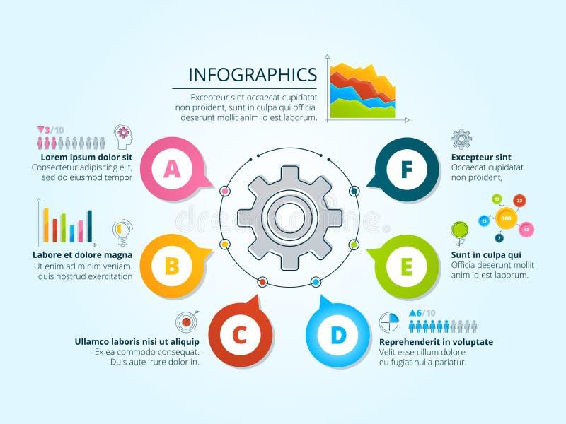 Moderne bedrijfsinfographics met radiale vormen Malplaatje met grafieken, grafieken en plaats voor uw tekst stock illustratie