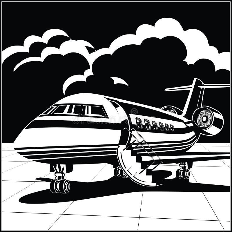 Moderne bedrijfsstraal bij de luchthaven royalty-vrije illustratie