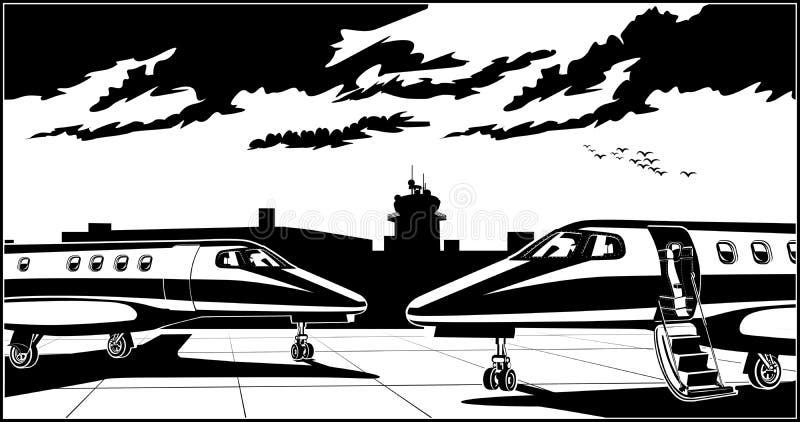 Moderne bedrijfsstralen bij de luchthaven stock illustratie