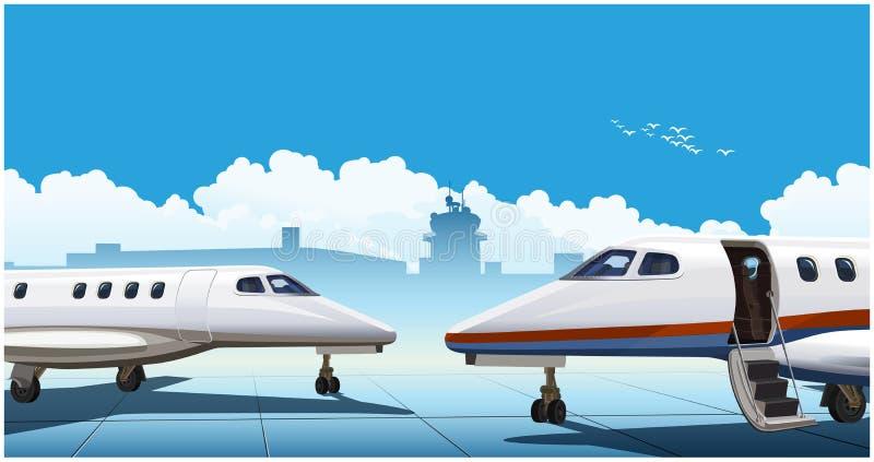 Moderne bedrijfsstralen bij de luchthaven vector illustratie