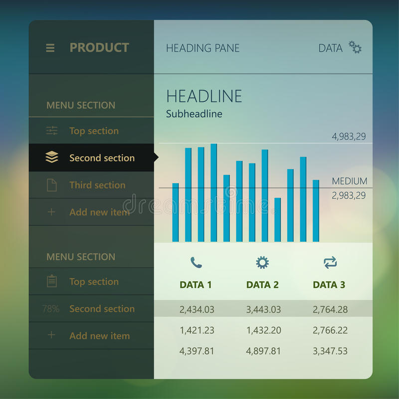 Moderne Benutzerschnittstellen-Schirmschablone für Mobile stock abbildung