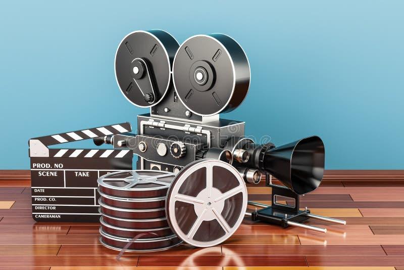 Moderne Berufsfilmbildkamera mit Mattebox und folgen Fokus auf abstraktem Raum-Hintergrund Clapperboard mit Filmrollen und Filmka vektor abbildung