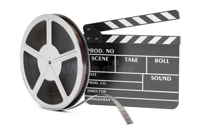 Moderne Berufsfilmbildkamera mit Mattebox und folgen Fokus auf abstraktem Raum-Hintergrund Clapperboard mit Filmrollen, Wiedergab lizenzfreie abbildung