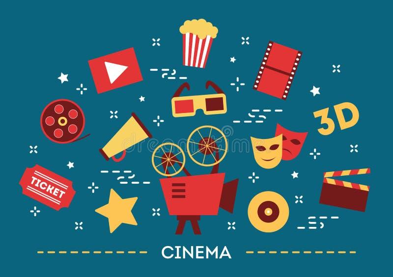 Moderne Berufsfilmbildkamera mit Mattebox und folgen Fokus auf abstraktem Raum-Hintergrund Film, Popcorn und Karte unterhaltung lizenzfreie abbildung