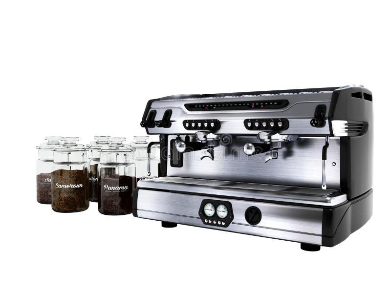 Moderne Berufskaffeemaschine für zwei Schalen mit großen Gläsern der unterschiedlichen Wiedergabe des Kaffees 3d auf weißem Hinte vektor abbildung