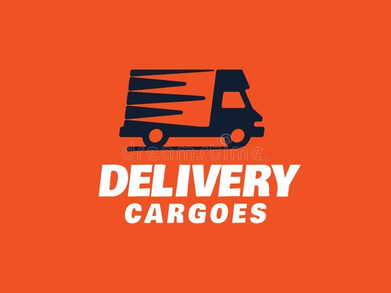 Moderne Berufsvektorlogo-Lieferungsfrachten im orange Thema stock abbildung