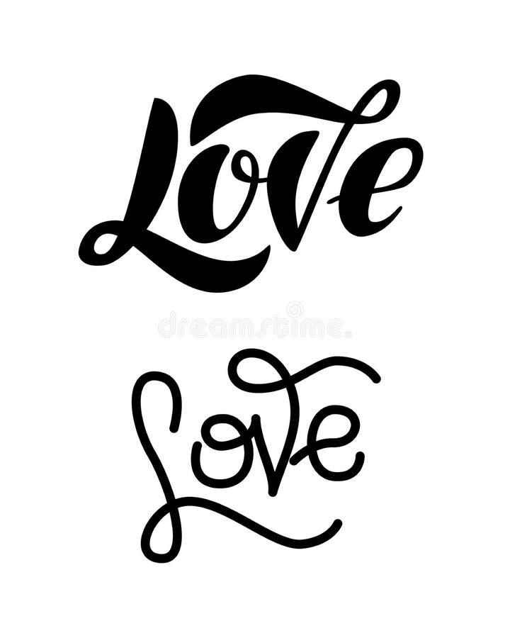 Moderne Beschriftung der Liebe lokalisiert auf weißem Hintergrund lizenzfreie abbildung