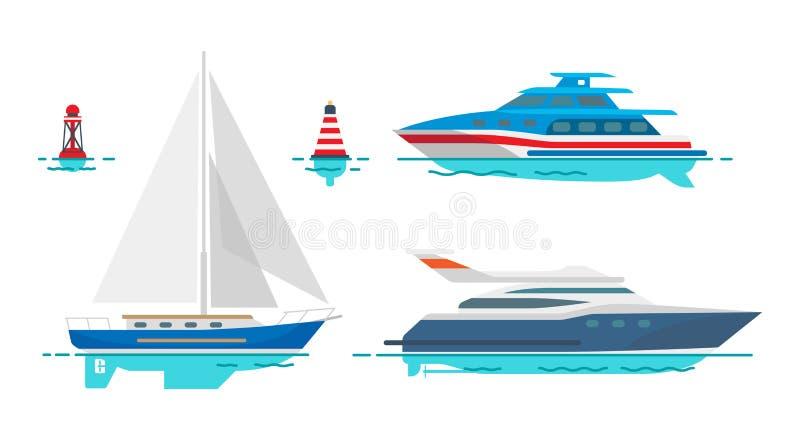Moderne Bewegungsyachten und weißes Segelboot auf Wasser stock abbildung