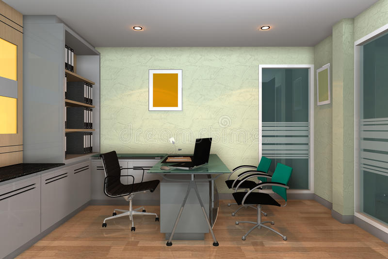 Moderne binnenlandse 3D van de ruimte van het Bureau vector illustratie