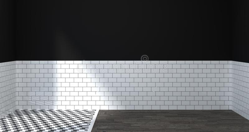 Moderne binnenlandse badkamers, toilet, douche, 3D Illustratie van het huisontwerp voor exemplaar ruimte achtergrond witte tegelb stock illustratie