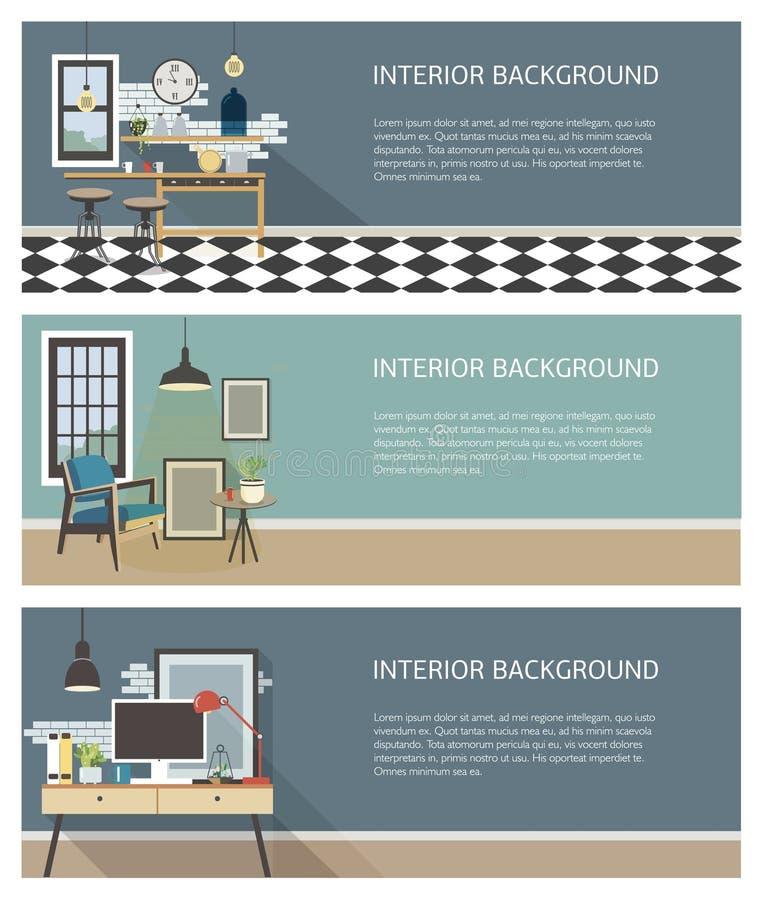 Moderne binnenlandse geplaatste banners Keuken, woonkamer, werkplaats in zolderstijl Kleurrijke vlakke vector horizontale malplaa stock illustratie