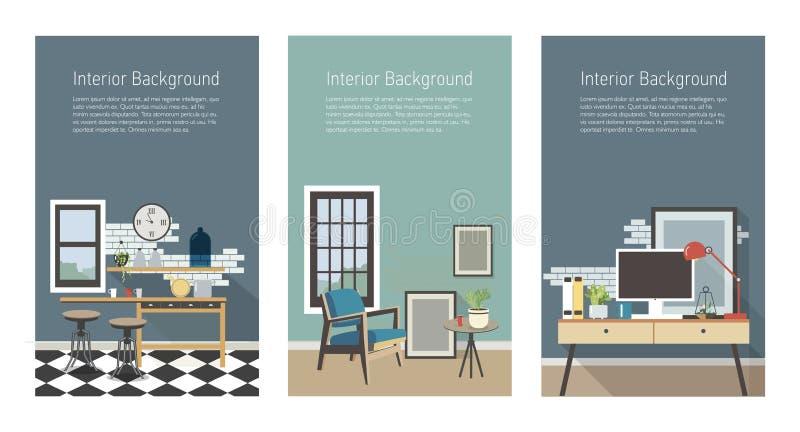 Moderne binnenlandse geplaatste banners Keuken, woonkamer, werkplaats in zolderstijl Kleurrijke vlakke vector verticale malplaatj vector illustratie