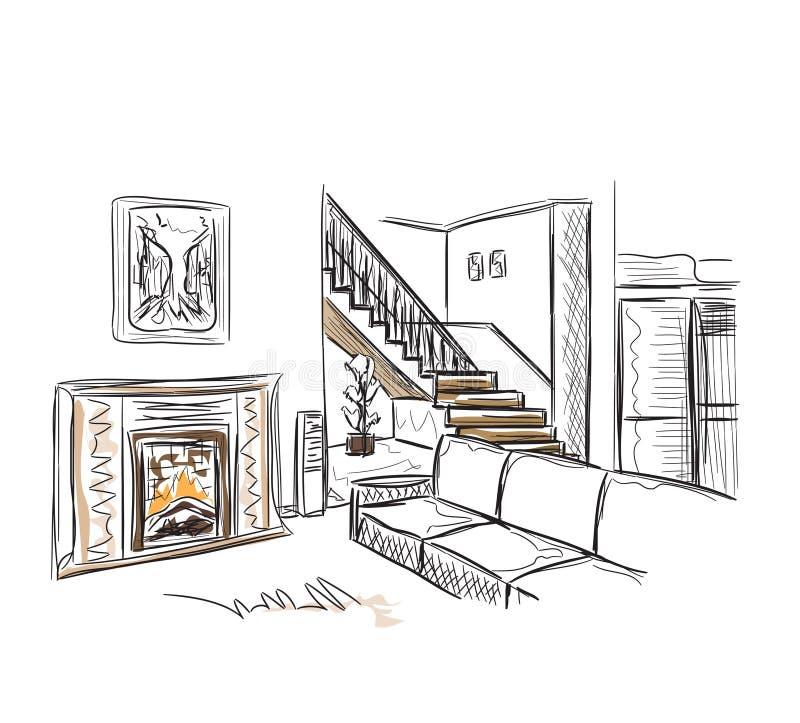 Moderne binnenlandse hand getrokken schets stock illustratie