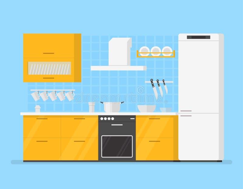 Moderne binnenlandse keukenruimte in gele tonen De illustratie van het beeldverhaal stock illustratie