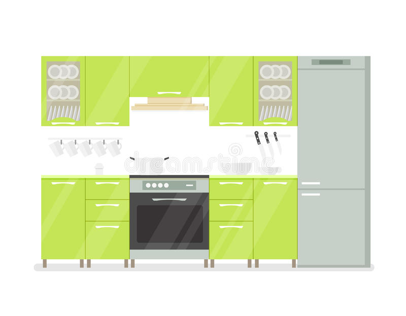 Moderne binnenlandse keukenruimte in groene tonen op witte achtergrondbeeldverhaalillustratie vector illustratie