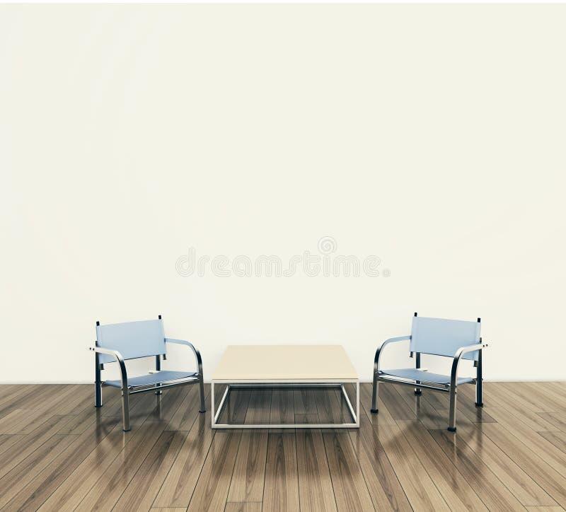 Moderne binnenlandse lijst en stoelen vector illustratie