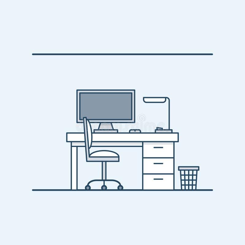Moderne binnenlandse ontwerpwerkplaats in het huis of bureau De computer en bureaulamp stoel en papiermand Vector vector illustratie