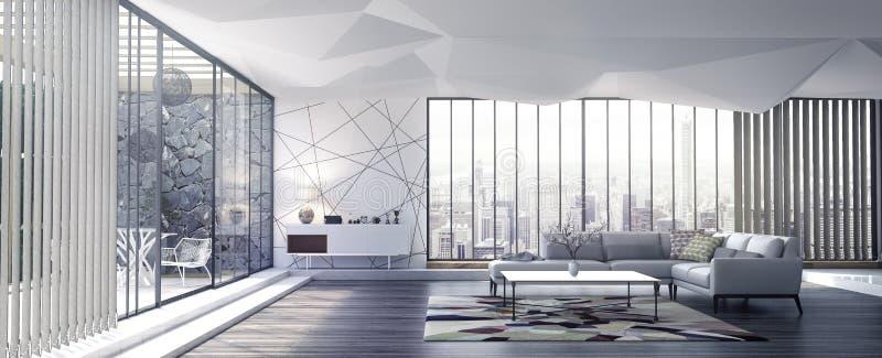 Moderne binnenlandse ontwerpwoonkamer royalty-vrije stock afbeelding