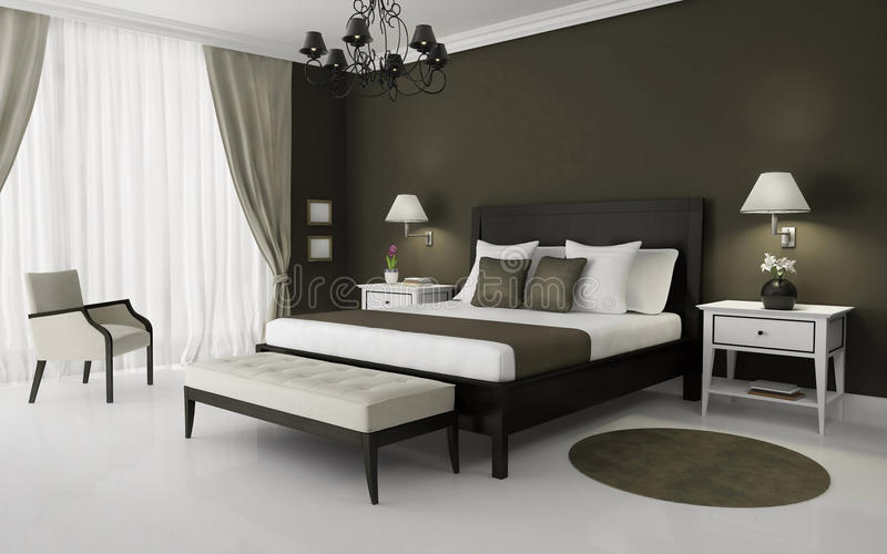 Moderne Binnenlandse slaapkamer vector illustratie