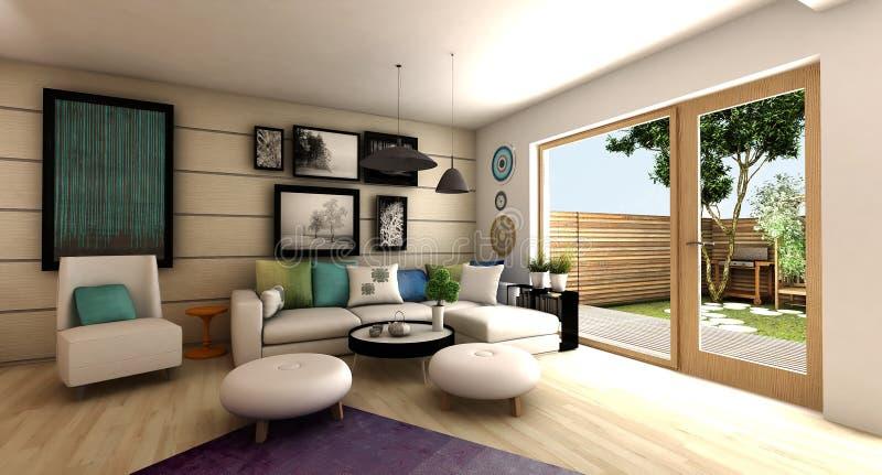 Moderne binnenlandse woonkamer stock foto's
