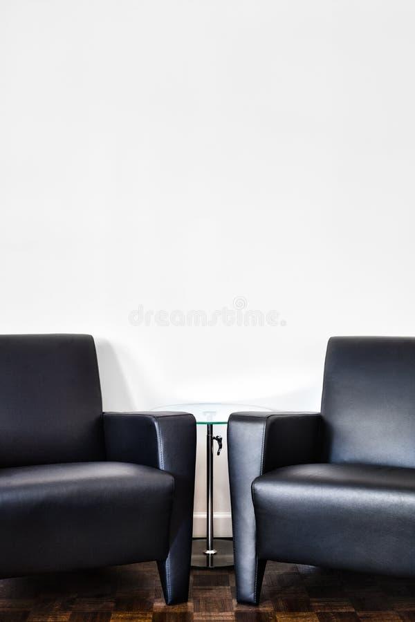Moderne Binnenlandse Zaal en witte muur stock foto's