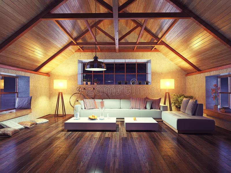 Moderne binnenlandse zolder stock illustratie