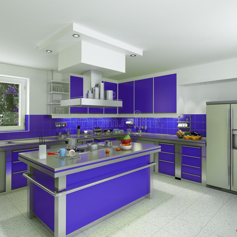 Download Moderne Blaue Küche Stock Abbildung. Bild Von Geräumig   14366891