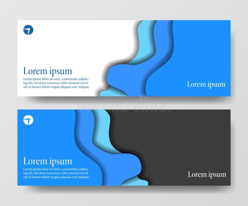 Moderne blauwe het document van de de golforigami van de bedrijfskopbalbanner vastgestelde besnoeiingsambacht stock illustratie
