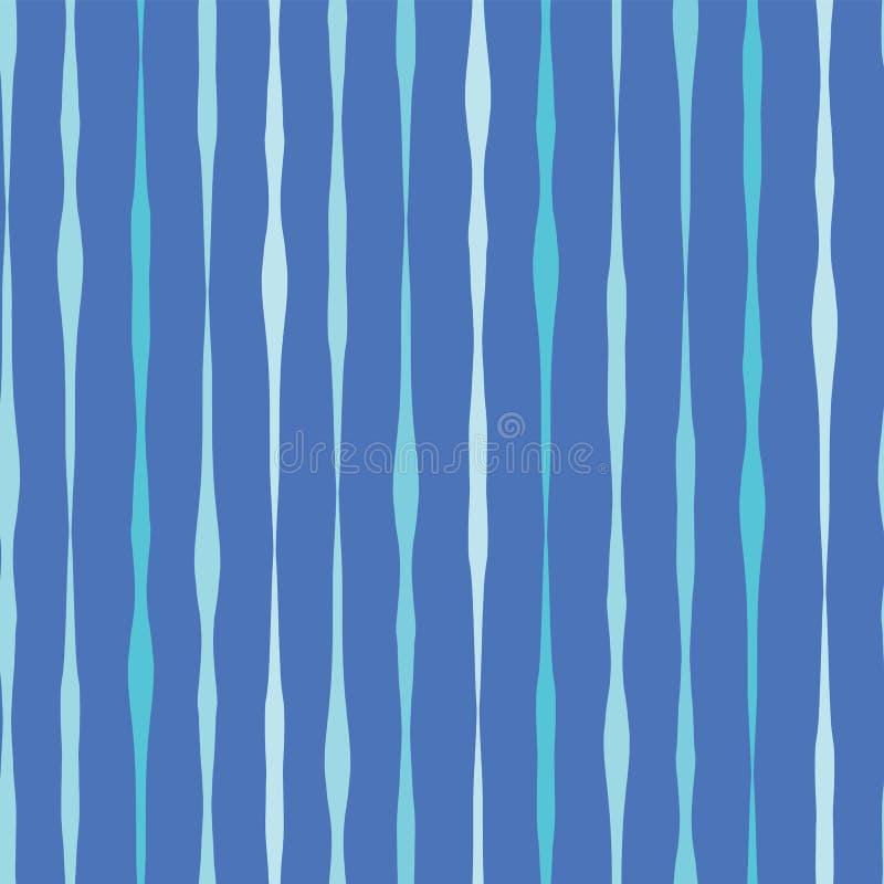 Moderne blauwe naadloze vectorachtergrond De blauwe tinten overhandigen getrokken verticale lijnen in rijen op blauwe achtergrond stock illustratie