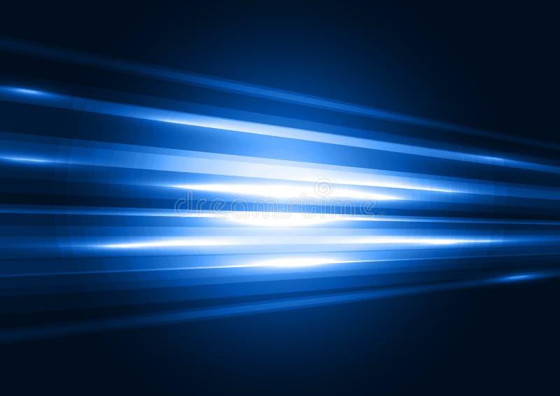 Moderne blauwe transparante hi-tech snelheids van licht abstracte backgrou stock illustratie