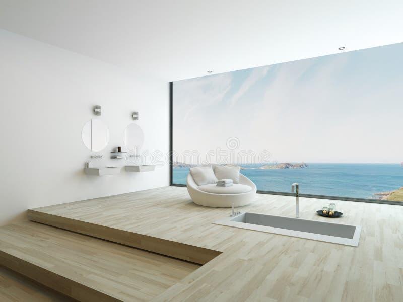 Moderne Bodenbadewanne gegen enormes Fenster mit Meerblickansicht lizenzfreie abbildung
