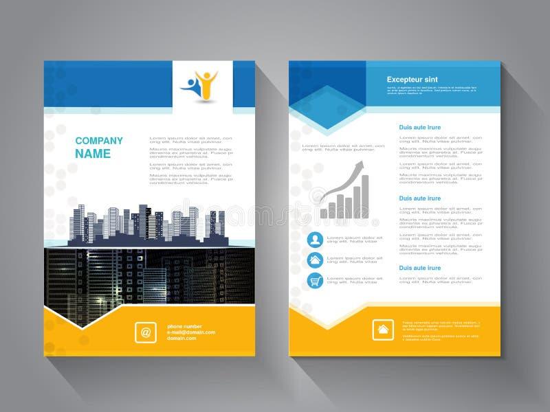 Moderne brochure, abstracte vlieger met achtergrond van gebouwen De scène van de stad Lay-outmalplaatje Affiche van geel, grijs,  vector illustratie