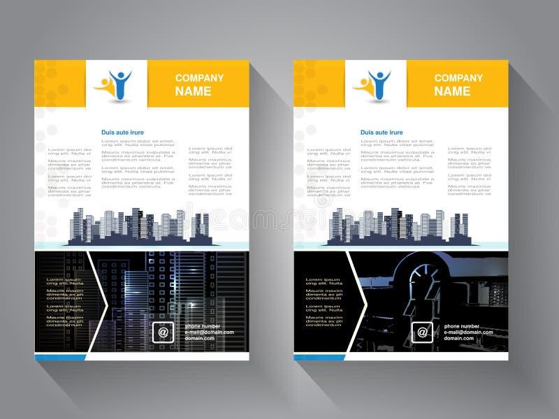Moderne brochure, abstracte vlieger met achtergrond van gebouwen De scène van de stad Lay-outmalplaatje Affiche van geel, grijs,  stock illustratie