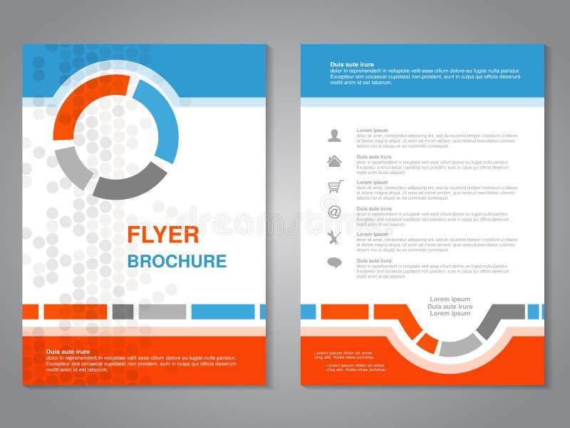 Moderne brochure, abstracte vlieger met eenvoudig gestippeld ontwerp Lay-outmalplaatje Aspectverhouding voor A4 grootte Affiche v royalty-vrije illustratie