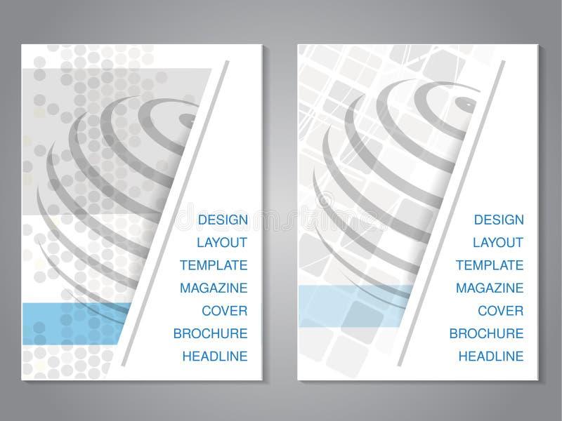 Moderne brochure met ontwerp van bol, vlieger met gestippeld en geregelde grijs achtergrond royalty-vrije illustratie