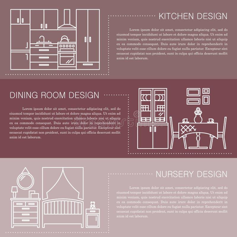 Moderne Broschürenflieger-Designschablone mit Linie Innenraumikonen Küche, Esszimmer, Kindertagesstättenvektorillustrationen lizenzfreie abbildung