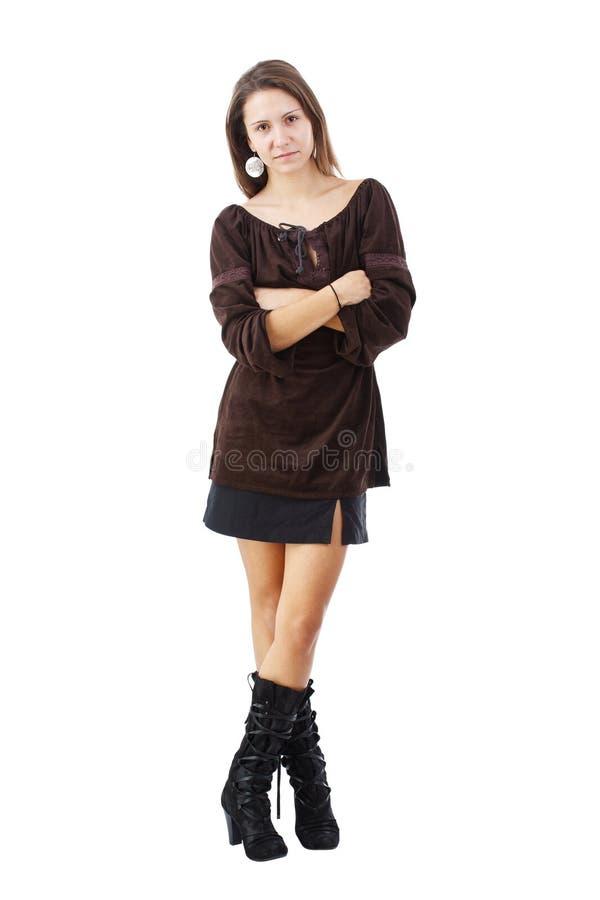 Moderne Brunettefrau stockfoto