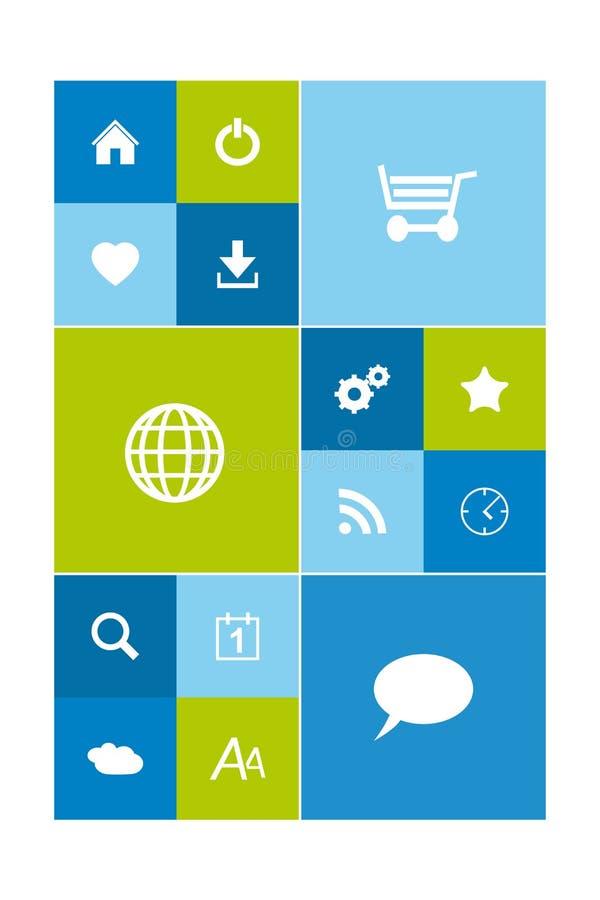 Moderne bunte Benutzerschnittstelle im flachen Design, Metroart stock abbildung