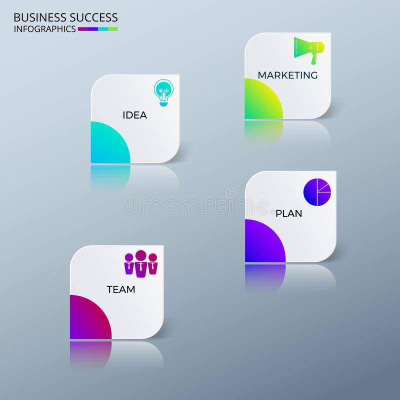 Moderne bunte Erfolgsgeschäft infographics Schablone mit Ikonen und Elementen Kann für Arbeitsflussplan, Fahne, Diagramm verwende stock abbildung