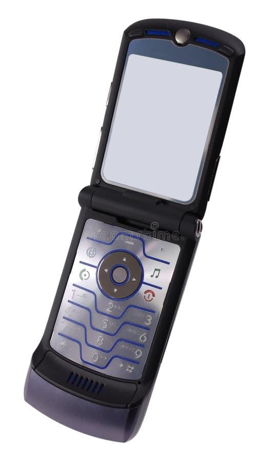 Moderne celtelefoon met weg stock foto's