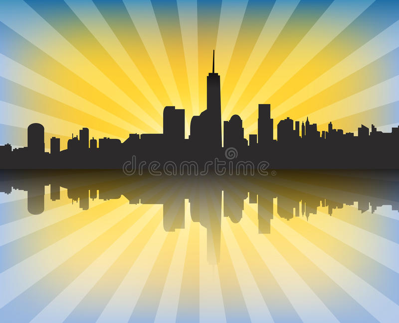 Moderne cityscape bij zonsondergang met zonnestralen en bezinning stock illustratie
