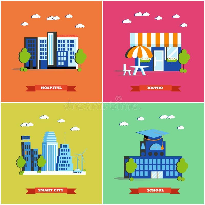 Moderne cityscape vectorillustratie Stadsgebouwen die in vlak ontwerp worden geplaatst Het ziekenhuis, bistro, slimme stad en sch stock illustratie