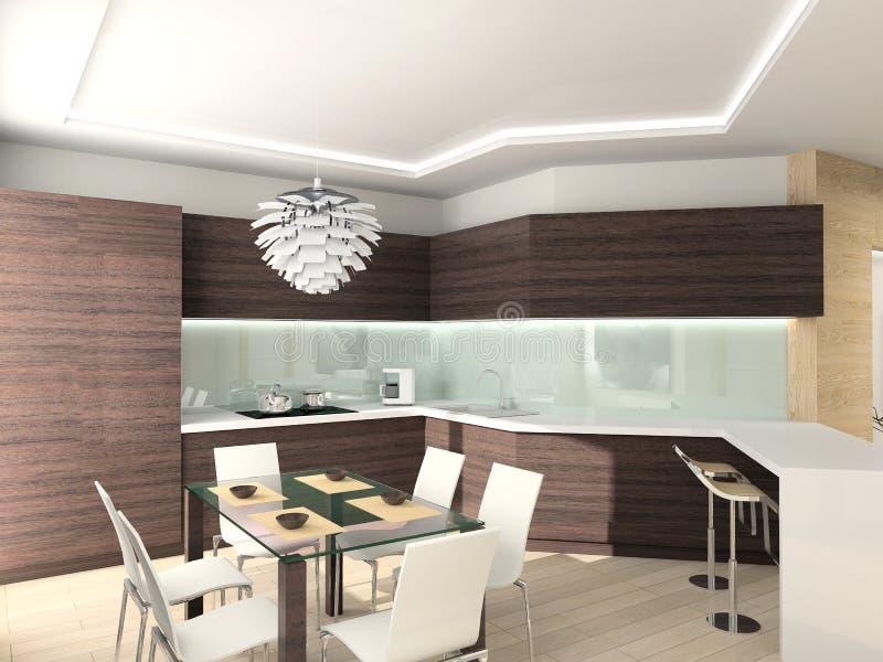 Moderne comfortabele keuken. royalty-vrije stock afbeelding