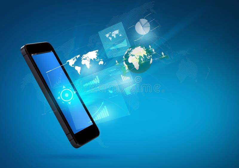 Moderne communicatietechnologie mobiele telefoon stock foto