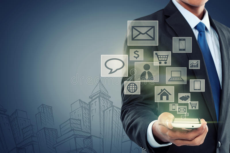 Moderne communicatietechnologie mobiele telefoon royalty-vrije stock afbeelding