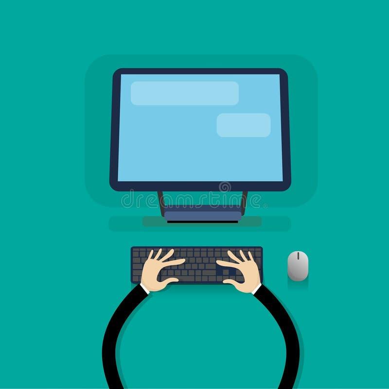 Moderne Computer-Arbeitsplatz-Tischplattenhände, die Tastatur schreiben lizenzfreie abbildung