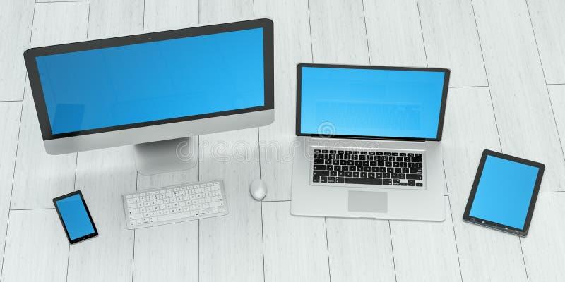 Moderne computerlaptop mobiele telefoon en tablet het 3D teruggeven royalty-vrije illustratie